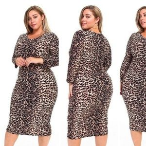 Dresses & Skirts - Plus Size Womens Leopard Print Midi Bodycon Dress